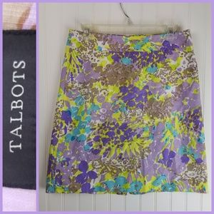 Talbots Purple & Green Floral Cotton Skirt